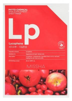Маска тканевая с томатом, гранатом и клюквой MISSHA Phytochemical Skin Supplement Sheet Mask Lycophene/Peeling Tone Up: фото