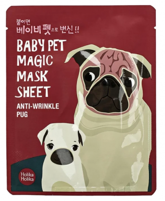 Маска-мордочка тканевая против морщинок Holika Holika Baby Pet Magic Mask Sheet Anty-wrinkle Pug 22 мл: фото