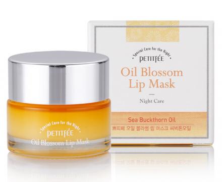 Маска для губ с витамином Е и маслом облепихи PETITFEE Oil Blossom Lip Mask Sea Buckthorn oil: фото