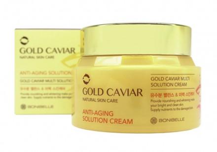 Антивозрастной крем для лица с экстрактом икры ENOUGH Bonibelle Gold Caviar Anti-Aging Solution Cream 80мл: фото
